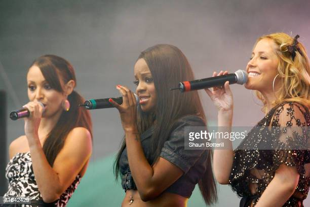 Amelie Berraba, Keisha Buchanan and Heidi Range of the Sugarbabes perform at the Twenty20 Cup Final match between Nottinghamshire and Leicestershire...