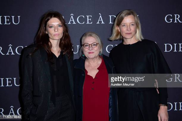 Amelie Daure Josiane Balasko and Aurelia Petit attend the 'Grace A Dieu' Premiere at Mk2 Bibliotheque on February 18 2019 in Paris France