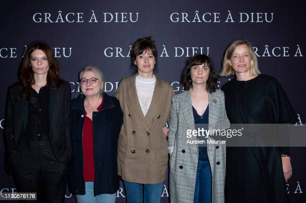 Amelie Daure Josiane Balasko Baya Rehaz a guest and Aurelia Petit attend the 'Grace A Dieu' Premiere at Mk2 Bibliotheque on February 18 2019 in Paris...