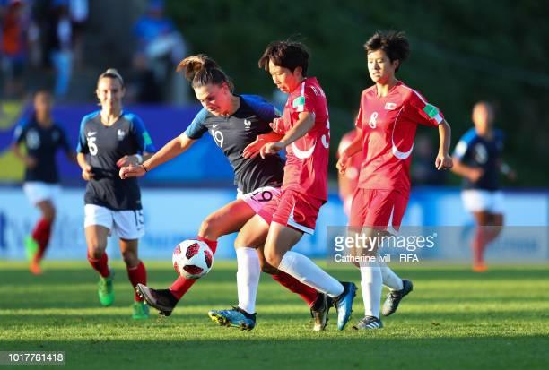 Amelie Delabre of France and Kum Hyang Ri of Korea DPR during the FIFA U20 Women's World Cup France 2018 Quarter Final quarter final match between...