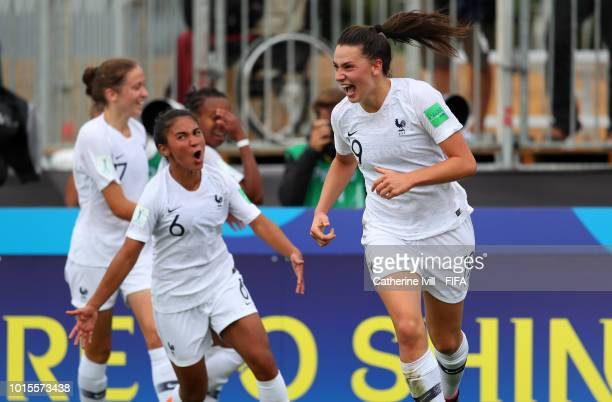 Amelie Delabre of France celebrates after she scores her sides third goal and her hattrick during the FIFA U20 Women's World Cup France 2018 group A...