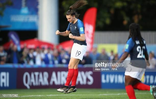 Amelie Delabre of France celebrates her team's first goal during the FIFA U20 Women's World Cup France 2018 Quarter Final quarter final match between...