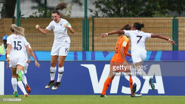 Amelie Delabre of France celebrates scoring a goal during the FIFA U20 Women's World Cup France 2018 group A match between Netherlands and France at...