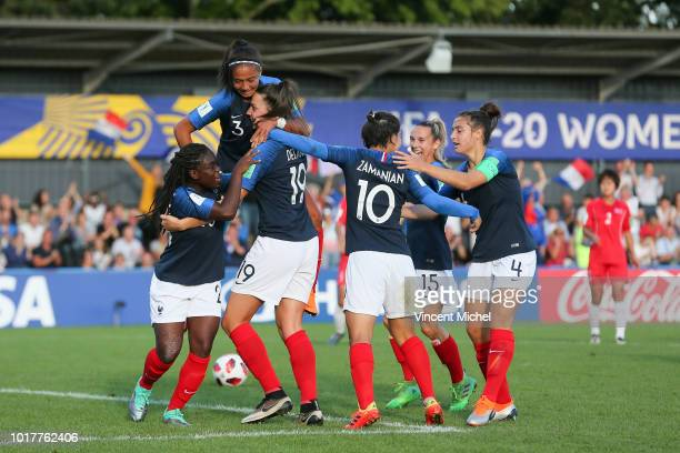 Amelie Delabre of France celebrates with teammates as she scores the first goal during the Quater Final Women's World Cup U20 match between France...