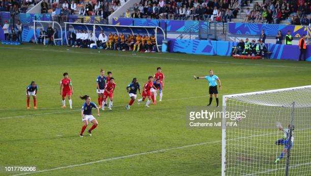 Amelie Delabre of France scores her teams first goal from the penalty spot during the FIFA U20 Women's World Cup France 2018 Quarter Final quarter...