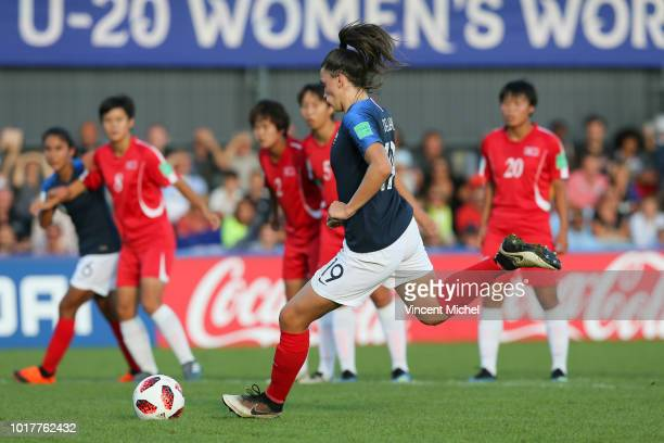 Amelie Delabre of France scores the first goal during the Quater Final Women's World Cup U20 match between France and Korea DPR on August 16 2018 in...