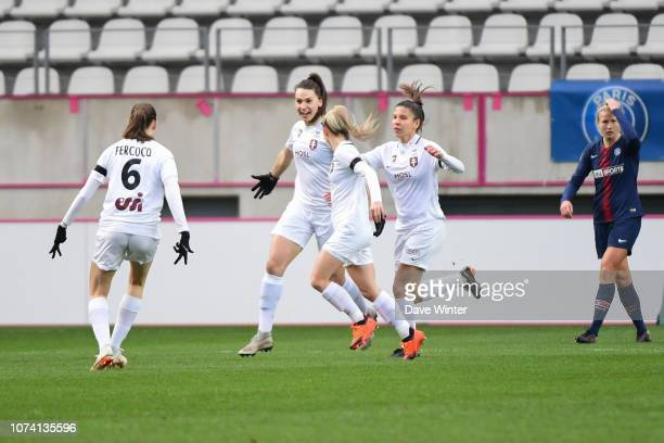 Amelie Delabre of Metz celebrates after scoring during the Division 1 Feminine match between Paris Saint Germain and Metz on December 16 2018 in...