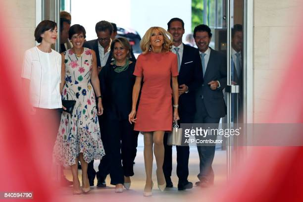 Amelie Derbaudrenghien partner of Belgian prime minister Maria Teresa Grand Duchess of Luxembourg Brigitte Macron wife of the French president and...