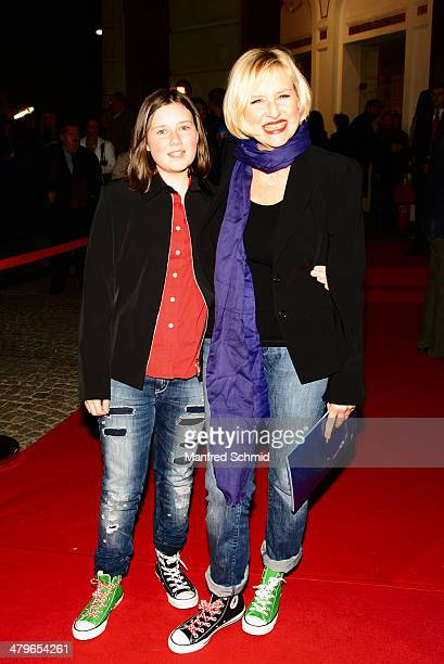Amelie Engstler and Elisabeth Engstler pose for a photograph during the 'Mama Mia' musical premiere at Raimund Theater on March 19 2014 in Vienna...