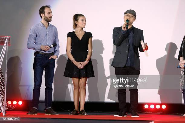 Amelie Etasse Kim Seonghun and Antoine Gouy attend closing ceremony of Valenciennes Cinema Festival on March 18 2017 in Valenciennes France