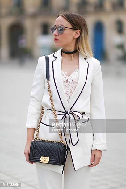 Amelie Lloyd is wearing a Zara full outfit Dior sunglasses a Chanel bag and Minelli shoes before the Sean Suen show during Paris Fashion Week...