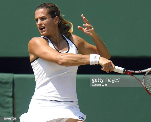 Amelie Mauresmo Amelie Mauresmo defeated Anastasia Myskina 63 64 in the quarter final of the Wimbledon Championships at the The All England Lawn...