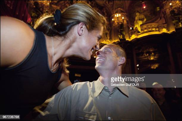 Amelie Mauresmo and her girlfriend discover the tennis player's wax likeness at the Musee Grevin