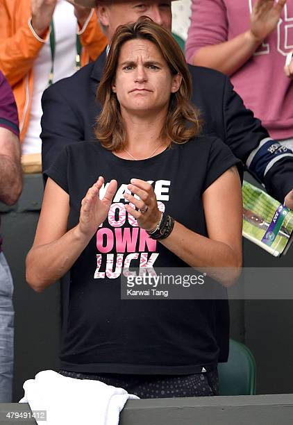 Amelie Mauresmo attends day six of the Wimbledon Tennis Championships at Wimbledon on July 4, 2015 in London, England.