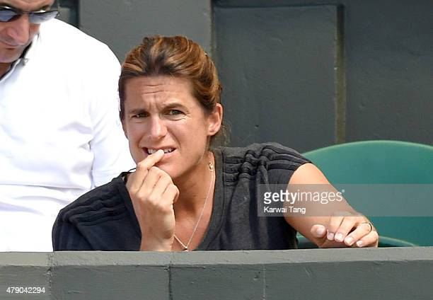 Amelie Mauresmo attends the Kiki Bertens v Petra Kvitova match on day two of the Wimbledon Tennis Championships at Wimbledon on June 30 2015 in...