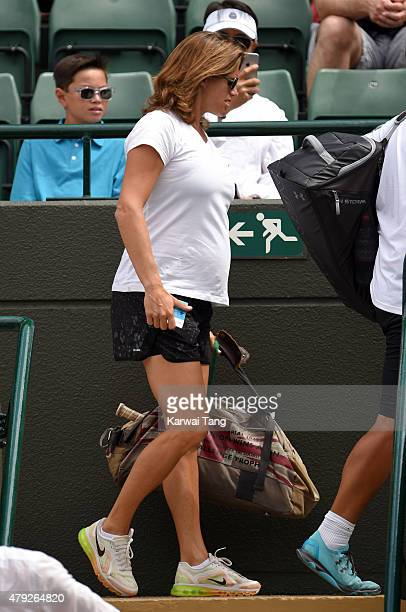 Amelie Mauresmo attends the Robin Hasse v Andy Murray match on day four of the Wimbledon Tennis Championships at Wimbledon on July 2 2015 in London...