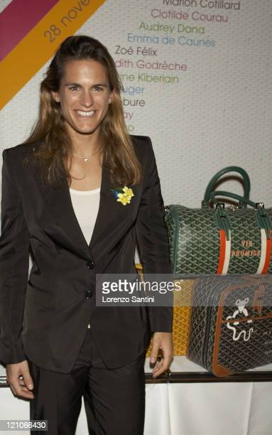 Amelie Mauresmo during Auction of Goyard Handbags Designed by Celebrities for the 'Institut Curie' November 28 2006 at Baccarat House in Paris France