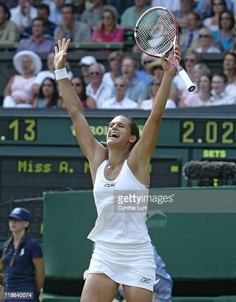 Amelie Mauresmo exhalts after winning the Ladies' championship by defeating Justine HeninHardenne in the 2006 Wimbledon Championships at the...