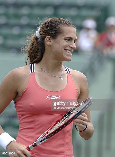 Amelie Mauresmo in women's doubles semifinal at the 2006 NASDAQ 100 Open at Key Biscayne Florida Lisa Ramond and Samantha Stosur defeated Mauresmo...