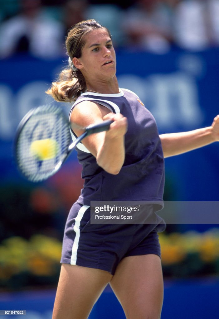 Amelie Mauresmo of France in action during the Australian Open Tennis Championships at Melbourne Park in Melbourne, Australia circa January 1999.