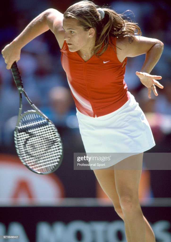 Amelie Mauresmo of France in action during the Australian Open Tennis Championships at Melbourne Park in Melbourne, Australia circa January 2002.