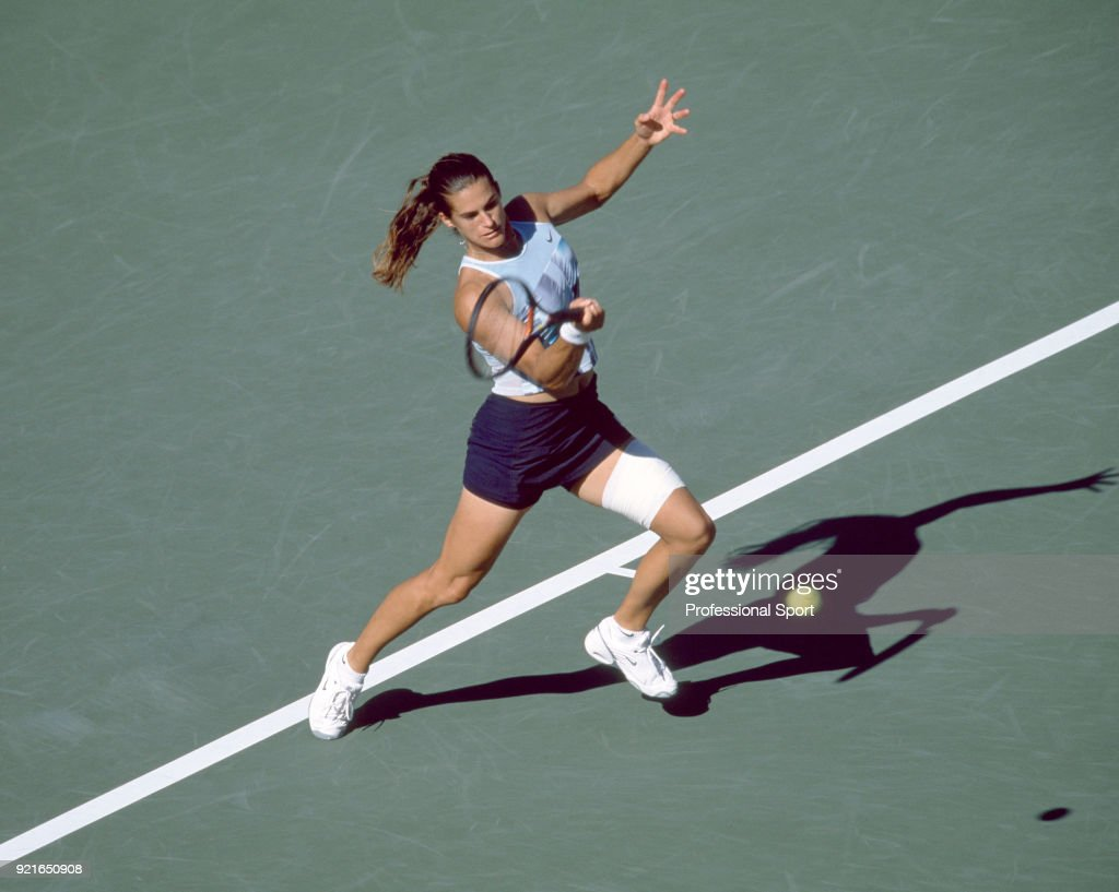 Amelie Mauresmo of France in action during the US Open at the USTA National Tennis Center, circa September 2002 in Flushing Meadow, New York, USA.