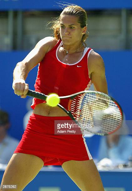Amelie Mauresmo of France in action during the womens final against Justine Henin-Hardenne of Belgium during the Adidas International at Sydney...