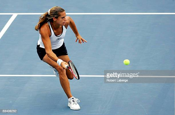Amelie Mauresmo of France plays Conchita Martinez of Spain in the third round of the Sony Ericsson WTA Tour Rogers Cup tennis tournament on August 18...