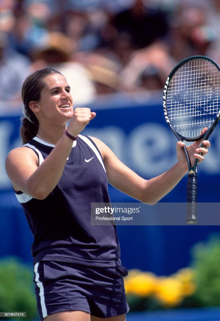 Amelie Mauresmo of France reacts during the Australian Open Tennis Championships at Melbourne Park in Melbourne, Australia circa January 1999.
