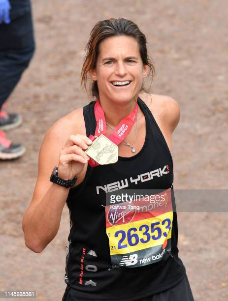 Amelie Mauresmo poses for the photographers after completing the Virgin London Marathon 2019 on April 28, 2019 in London, United Kingdom.