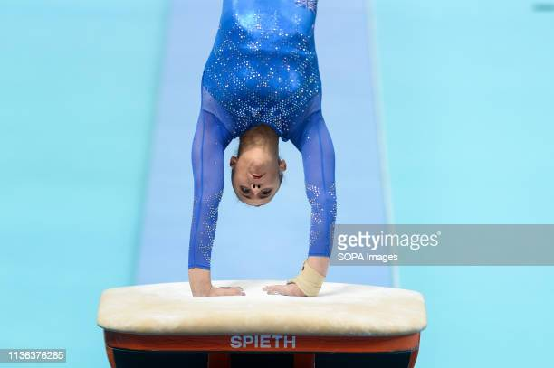 Amelie Morgan from Great Britain seen in action during the women qualifications of the 8th European Championships in Artistic Gymnastics