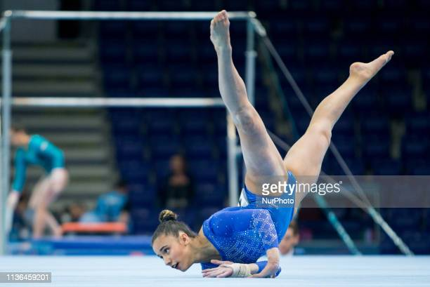 Amelie Morgan in action during qualifications at the European Championships Artistic Gymanstics day two in Szczecin Poland on 11 April 2019 The EC...