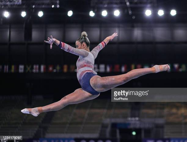 Amelie Morgan of Great Britain during women's qualification for the Artistic Gymnastics final at the Olympics at Ariake Gymnastics Centre, Tokyo,...