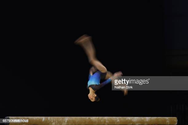 Amelie Morgan of Slough Gymnastics competes in the beam during the British Gymnastics Championships at the Echo Arena on March 26 2017 in Liverpool...