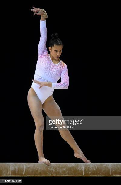 Amelie Morgan of The Academy competes on the Balance Beam during the WAG Senior Apparatus Final on day four of the 2019 Gymnastics British...