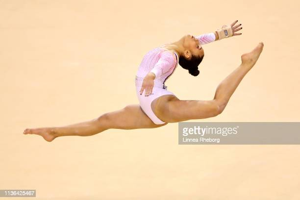 Amelie Morgan of The Academy competes on the floor during the WAG Senior Apparatus Final on day four of the 2019 Gymnastics British Championships at...