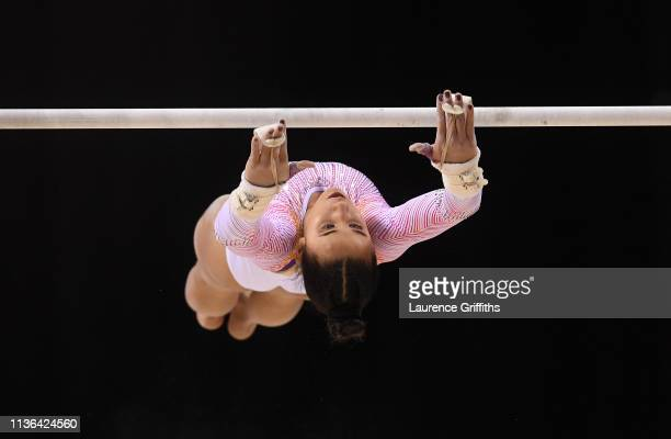 Amelie Morgan of The Academy competes on the Uneven Bars during the WAG Senior Apparatus Final on day four of the 2019 Gymnastics British...