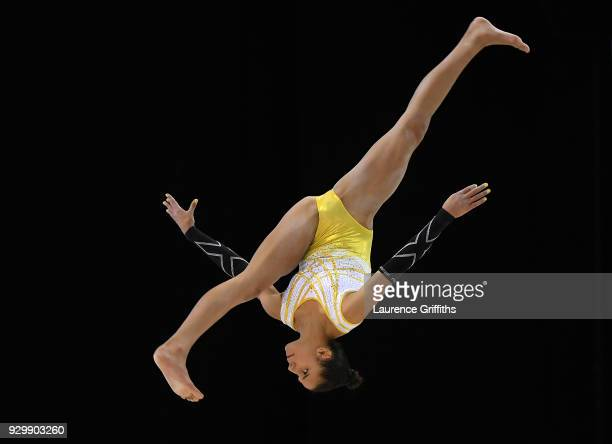 Amelie Morgan of The Academy performs on the beam during The Women's Junior AllAround Subdivision 2Round during the Gymnastics British Championships...