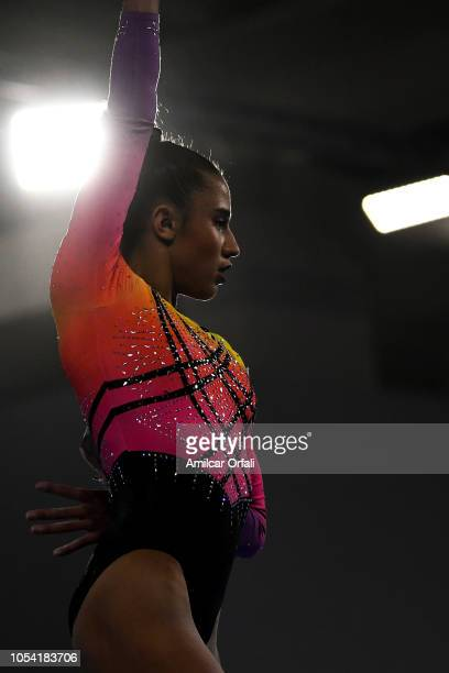 Amelie Morgan of United Kingdom competes in the Women's AllAround Final during day 6 of Buenos Aires Youth Olympic Games 2018 at Youth Olympic Park...