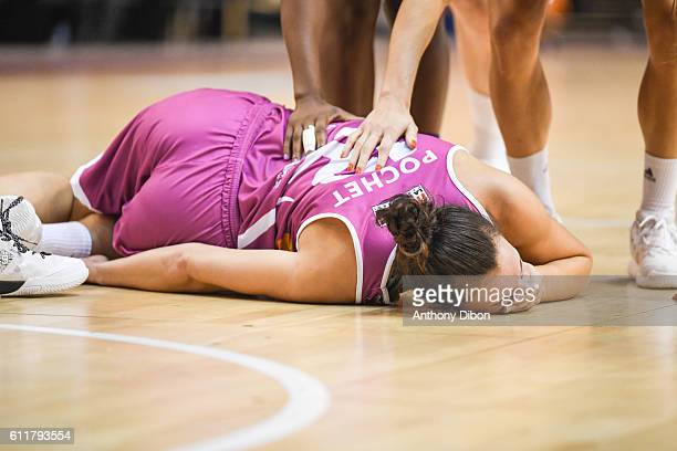 Amelie Pochet of Angers injured during the Open LFB match between Nice and Angers on October 1 2016 in Paris France