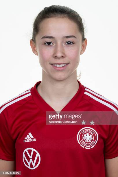 Amelie Schuster poses during the Germany U15 Girl's team presentation on March 19 2019 in Duisburg Germany