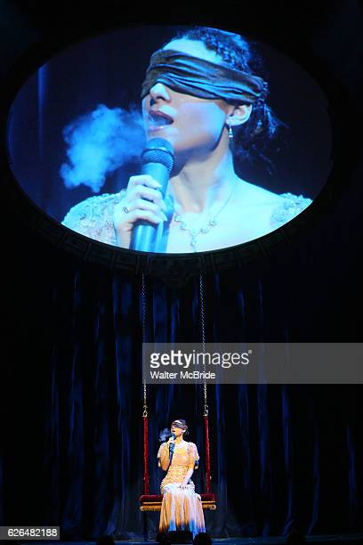 Amelie van Tass The Clairvoyants from 'The Illusionists' during a press preview of 'The Illusionists Turn of the Century' at The Theater Center on...