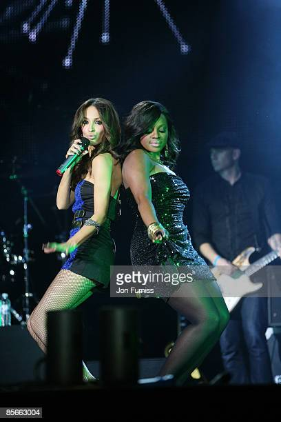ACCESS *** Amelle Berrabah and Keisha Buchanan of Sugababes performs on stage during the Capital FM Jingle Bell Ball held at the 02 Arena in...