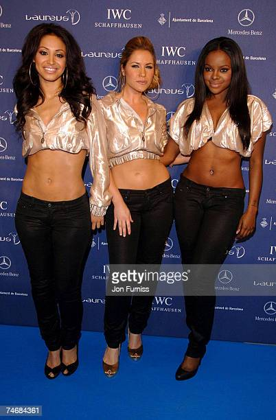 Amelle Berrabah Heidi Range and Keisha Buchanan of the Sugababes at the Palau Sant Jordi in Barcelona Spain
