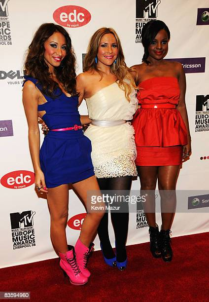 Amelle Berrabah Heidi Range and Keisha Buchanan of the Sugababes arrive for the 2008 MTV Europe Music Awards held at at the Echo Arena on November 6...