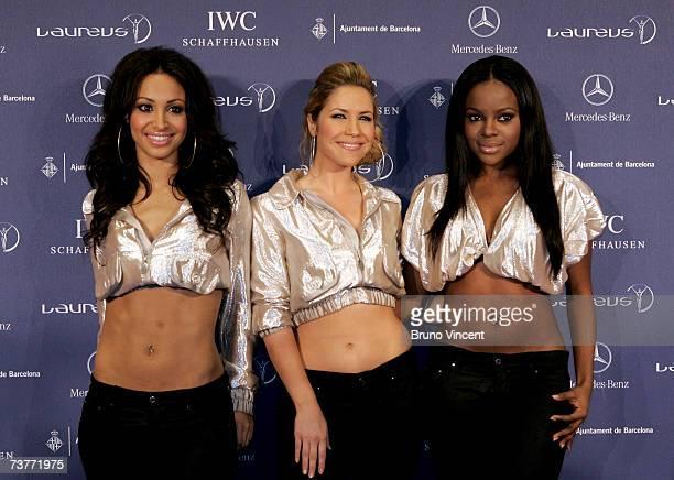 Amelle Berrabah Heidi Range and Keisha Buchanan of The Sugababes pose in the awards room at the Laureus Sports Awards at the Palau Sant Jordi on...