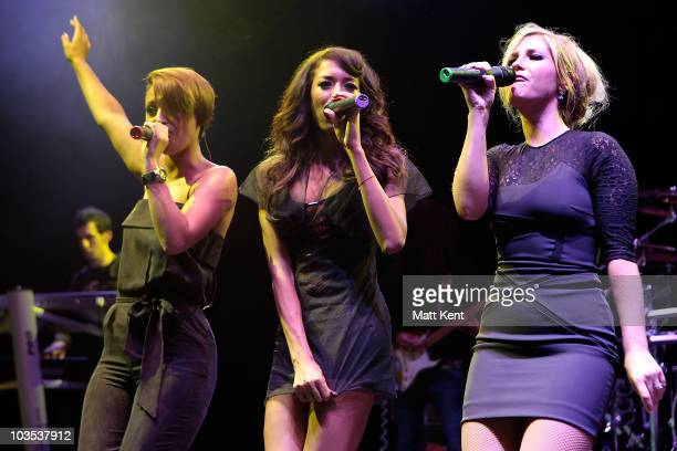 Amelle Berrabah Jade Ewen and Heidi Range of Sugababes perform at day two of V Festival at Hylands Park on August 22 2010 in Chelmsford England
