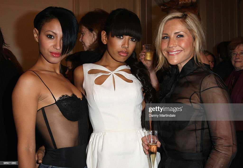 Amelle Berrabah, Jade Ewen and Heidi Range of the girl band Sugababes attend London Fashion Week Autumn/Winter 2010 on February 21, 2010 in London, England.