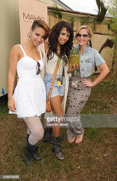 Amelle Berrabah Jade Ewen and Heidi Range of the Sugababes pose for a photograph in the official VIP backstage area hosted by Mahiki during Day Two...