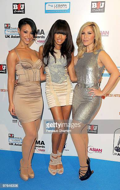 Amelle Berrabah JadeEwen and Heidi Range of Sugababes attends the Lebara Mobile Asian Music Awards at the Royal Festival Hall on March 11 2010 in...